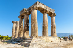 The temple of ancient Corinth (Ivanov Andrey) Tags: temple archaeology ruins history religion paganism ancientgreece column step stone stairs horizon sky cloud blue god stovetop sand walk journey midday detonation heat sun mountain hill slope peak landscape travel ancientcorinth peloponnese greece