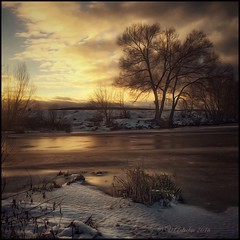 Winter evening. (odinvadim) Tags: mytravelgram paintfx textured textures iphone editmaster travel iphoneography sunset evening iphoneonly church painterly artist snapseed landscape photofx specialist iphoneart graphic painterlymobileart