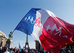 Paris Protesters (Az-Jean) Tags: frenchflag protest eiffeltower statue people plaza flag france paris