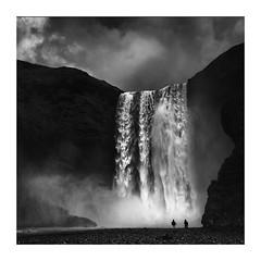 Skogarfoss (richieJ 11) Tags: skogarfoss iceland waterfall people spray river water mono blackandwhite squarecrop