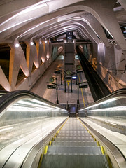 Gare Lyon Saint Exupéry. (Gilles Daligand) Tags: lyon garesncf lyonsaintexupéry escalator quai train tgv interieur escalierroulant architecture architecte santiagocalatrava
