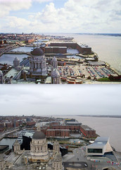 View from the Liver Building,1980s and 2016 4 (Keithjones84) Tags: liverpool merseyside history localhistory thenandnow rephotography liverbuilding royalliverbuilding