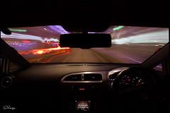 City Of Blinding Lights (Donna Rowley) Tags: car dashboard longexposure lights street road drive driving wheel steering