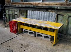 Bench Seat (geowelch) Tags: dundasstwest toronto urbanfragments panasoniclumixgvario1232mm3556 panasoniclumixgx1 colorfulbench