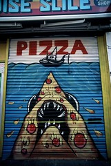 Pizza (goodfella2459) Tags: nikon f65 fujifilm velvia 50 35mm e6 slide film analog colour pizza jaws street art advertisement parody brick lane whitechapel london milf