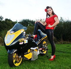 Holly_9569 (Fast an' Bulbous) Tags: girl woman chick babe bike biker motorcycle japanese suzuki hayabusa turbo superstreet pro turbocharged long brunette hair red shoes high heels stilettos leather pvc jeans leggings model pinup drag race strip track pits santa pod england euro finals outdoor