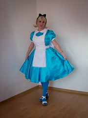 Alice (blackietv) Tags: alice aliceinwonderland costume blue white dress petticoat apron tgirl transvestite crossdresser crossdressing transgender