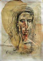 Portrait1 Roberta (Alemwa) Tags: alemwa berlin kreuzberg sketch sketching zeichnung zeichnen lifedrawing zeichnennachmodell 20minuten kohle gouache frau portrait