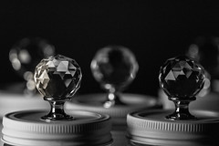338/366: Knobs and bokehs (judi may) Tags: 366the2016edition 3662016 day338366 3dec16 glassknobs blackandwhite mono monochrome dof depthoffield bokeh lowkey lowlight macro canon7d