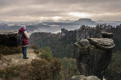 *Discovering* (miyagimovies) Tags: saxonswitzerland landscape nature morning landscapephotography mountains mountain view sun sunbeams saxony germany rocks people fall autumn canon sigma nationalpark elbsandsteingebirge europe dresden