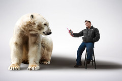 Polar Opposites (Photography by XO) Tags: bear polarbear studio indoor indoors animal photoshop photography portrait photo pose people photograph photographer photoshoot light latino fun white whitebackground jacket coat goatee hershey fur furry claws friends buds buddys pals shadows cup nikond7200 18mm stocklens nikon stool seat northface me man person jeans bluejeans happy