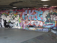 The South Bank, London - Queen Elizabeth Hall - Undercroft graffiti (ell brown) Tags: southbank lambeth londonboroughoflambeth londonboroughofsouthwark bankside london greaterlondon england unitedkingdom greatbritain southbankcentre queenelizabethhall theundercroft graffiti streetart skateboarders cyclists undercroft bmxers brutal concrete graffitiartists