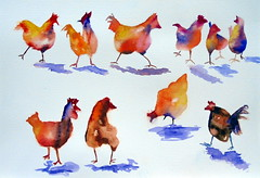 Chickens, by Lourdinha - DSC01260 (Dona Minúcia) Tags: cute bird art chicken animal watercolor painting paper galinha arte study ave fofo pintura aquarela gracinha
