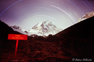 Star trails over the Anqosh Face of Huascaran Sur