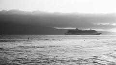 Lahaina, Maui, Hawaii (trphotoguy) Tags: cruise bw film clouds hawaii blackwhite surfer maui surfing cruiseship hi lahaina lanai tmax100 nikonf6 100tmx afsnikkor2485mmf3545g