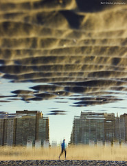 """sand clouds"" (B.Graulus) Tags: sea reflection beach water strand photography seaside sand belgium belgique belgi playa running runner belgica plage"