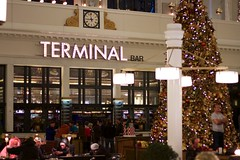 Terminal Bar (Mike Miley) Tags: christmas railroad holiday tree clock station sign bar train decoration rail denver terminal trainstation co unionstation canonef50mmf18orcanonef50mmf18ii