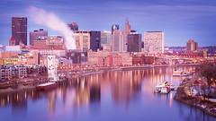 St. Paul (Chris Gotz Photography) Tags: city longexposure bridge sunset blur reflection water minnesota skyline skyscraper river mississippi lights boat cityscape 1st stpaul bluehour