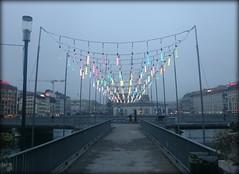 Misty Christmas in Geneva, Switzerland (Wagsy Wheeler) Tags: christmas bridge light mist fog river lights switzerland suisse geneva geneve swiss rhône murky lakegeneva rhone lacleman murk suiss