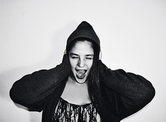Society Tried To Tell Us Who To Be (Ayonna Lee) Tags: blackandwhite beautiful fashion fashionphotography grunge inspired teenagers teen scream whitebackdrop screaming yelling beanie society angst davidbowie blackandwhitephotography highfashion bnwcaptures