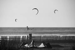 Tarifa Kite (ramosblancor) Tags: humanos humans naturaleza nature paisaje landscape costa coast playa beach deportes sports kitesurf kites cometas playadeloslances tarifa cdiz espaa spain blancoynegro blackandwhite bw mar sea viento wind