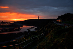 Sunset Stack (whosoever2) Tags: sunset red sky bristol channel aberthaw wales uk unitedkingdom gb greatbritain arriva atw class150 150250 fontygary train railway railroad water nikon d7100 october 2016