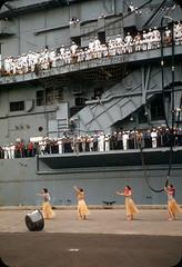 Welome Home Hula Dance on Ford Island, Honolulu, Hawaii  1950s (ElectroSpark) Tags: vintage photos slides hawaii military aircraftcarrier wwii koreanwar tiki hula girls