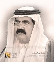 Pencil Drawing ( HH Sheikh Hamad / Emir Qatar ) (IdehOnline |  ) Tags: sheikh hamad pencil drawing art qatar aliamin