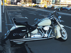 The Yamaha Route 66 Motorcycle (Steve Taylor (Photography)) Tags: yamaha route66 motorcycle chopper vtwin chrome parked metal newzealand nz southisland canterbury christchurch cbd city sunny sunshine