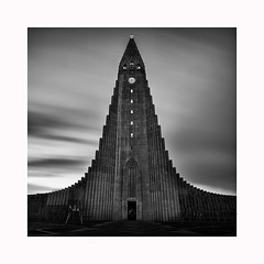 Hallgrmskirkja (Pete Rowbottom, Wigan, UK) Tags: hallgrmskirkja iceland reykjavik church cathedral square mono monochrome longexposure blackandwhitelongexposure fineart architechture slowshutterspeed dramatic dramaticsky peterowbottom squareformat clock clocktower unusual surreal building landmark nikond750 kirk landmarkreykjavik icelandlandmark tallbuilding movingclouds clouds cloudy cloudmovement geotagged