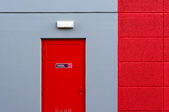 Red door and grey wall (Jan van der Wolf) Tags: map160129v deur composition compositie red rood grey grijs light lamp wall muur lines lijnen