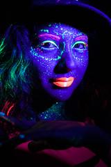 Some Theatrics (Chantaletc) Tags: model night dark glow glowinthedark neon blacklight fluorescence