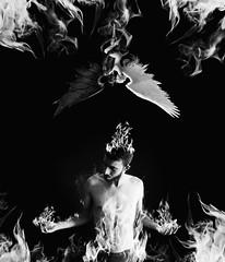 Saint or sinner? (Josu Urrestarazu Garcia) Tags: sinner or saint demon angel vs love fire flames fuego demonio el mal amor desconocido persona ardiendo