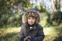 The boy in the woods (108of365) (Reckless Times) Tags: little boy man junior hood parka woods sunny light autumn fall winter day wood forest bokeh dof nikon wytham oxford unionflag university oxforduniversity lab fur lined