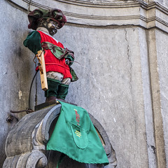 Brussels, Belgium. Manneken Pis dressed, statue in Brussels. (Marco Crupi Visual Artist) Tags: fountain manneken figure famous european pis pissing town attraction statue sculpture europe symbol boy city bronze brussels belgium kid landmark iconic history child capital culture destination historic historical little tourism sightseeing tourist travel water peeing pee monument mannekin naked national nude bruxelles art