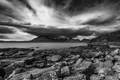Elgol Beach and the Black Cuillins (Nick_Rowland) Tags: highlands scotland skye isleofskye elgol blackcuillins beach sea clouds sky water mono blackandwhite