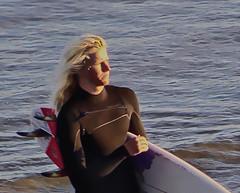 Golden Surfer - 13 November 2016 (iseedre) Tags: surfboard wetsuit blond surfer sunset oceanside ocean beach pier wave