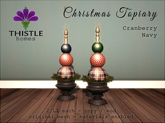 Thistle Christmas Topiary Cranberry Navy (Liz Gealach) Tags: lizgealach fameshed second life sl secondlife christmas holiday decor deco furniture topiary thistle homes home cottage house