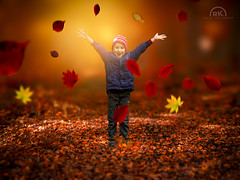 Autumn happiness (RK - Design  Photography) Tags: bltter herbst junge kind wald autumn happiness glck glcklich freude pleasure happy forest leaves red orange rot gelb yellow tiefenschrfe bokeh unscharf boy smile lcheln portrt color portrait kid panasonic lumix gh2 gh3 gh4