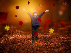 Autumn happiness (RK - Design · Photography) Tags: blätter herbst junge kind wald autumn happiness glück glücklich freude pleasure happy forest leaves red orange rot gelb yellow tiefenschärfe bokeh unscharf boy smile lächeln porträt color portrait kid panasonic lumix gh2 gh3 gh4