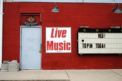 Lice Music Often, Jefferson Wisconsin (Cragin Spring) Tags: building jefferson jeffersonwisconsin jeffersonwi wisconsin wi midwest architecture jeffersoncounty sign music budweiserselect budweiser beersign texture door