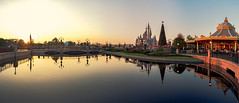 Panorama of Shanghai Disneyland (lijiabin) Tags: ifttt 500px reflection water outdoors evening tree castle architecture sunset dawn travel bridge chrismastree disney