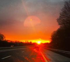 road trip sunrise (ekelly80) Tags: thanksgiving november2016 roadtrip pennsylvania earlymorning morning light sun glow sunrise colors bright orange road highway turnpike