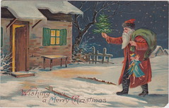 "Antique CHRISTMAS SANTA c.1908 SANTA ARRIVING AT THE HOME OF SOME GOOD GIRLS AND BOYS RED SUIT BLACK FUR TRIM German Printed Embossed Publisher UNK (UpNorth Memories - Donald (Don) Harrison) Tags: christmas santa jesus vintage antique postcard rppc ""don harrison"" ""upnorth memories"" upnorth memories upnorthmemories michigan history heritage travel tourism ""michigan roadside restaurants cafes motels hotels ""tourist stops"" ""travel trailer parks"" campgrounds cottages cabins ""roadside entertainment"" ""natural wonders"" attractions usa puremichigan "" ""railroad ferry"" ""car excursion"