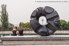Black Sun (P8220393) (Michael.Lee.Pics.NYC) Tags: seattle sculpture bench washington cityscape olympus spaceneedle hazy volunteerpark blacksun asianartmuseum isamunoguchi mkii markii em5 45mm18