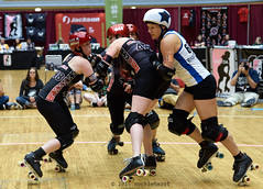 Roasted Pony tries to get by Demolition City's Steel Stiches and Flex A. Belle. (nocklebeast) Tags: usa cleveland rollerderby rollergirls oh skates santacruzsentinel wftda clevelandpublicauditorium santacruzderbygirls demolitioncity santacruzboardwalkbombshellls 44steelstiches 667roastedpony noh8flexabelle d2tournament santacruzvsdemolitioncityl3502460 wftdaplayoffs