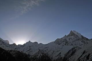 Sunrise behind Machapuchare, Annapurna Base Camp (Nepal)