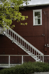 Side Steps (Beth Madigan) Tags: red white building fall stairs buildings stair steps step tavern whidbeyisland langley smalltown thedoghouse