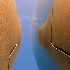 Monumentally vainglorious (Arni J.M.) Tags: sky sculpture cloud reflection up mirror iceland harbour steel reykjavik granite stainless ccp eveonline worldswithinaworld monumentallyvainglorious heimarheimi