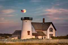 Full moon over Stage Harbor Light (betty wiley) Tags: capecod newengland fullmoon chatham moonrise harvestmoon supermoon bettywileyphotography